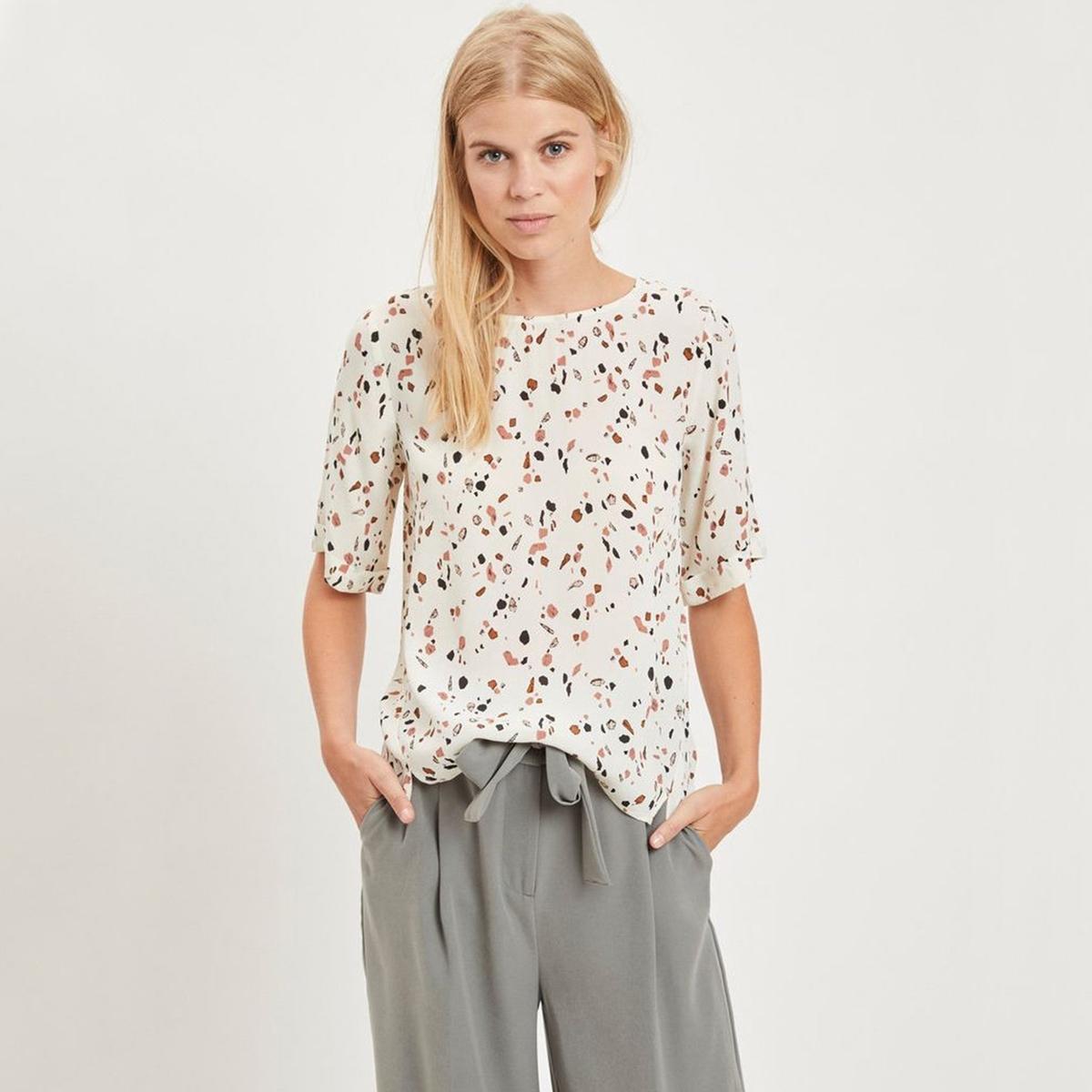 Блузка с круглым вырезом, графическим рисунком  короткими рукавами