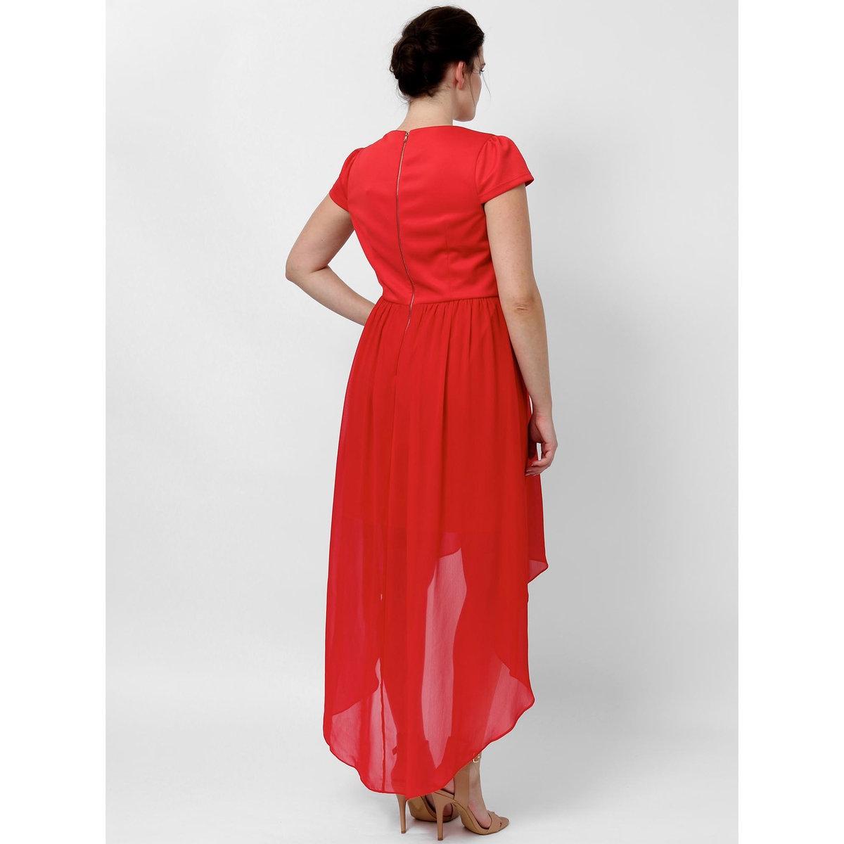 Платье длинноеПлатье с короткими рукавами KOKO BY KOKO. Узор спереди . Прозрачный эффект внизу платья. Длина ок. 145 см.. 100% полиэстера<br><br>Цвет: красный<br>Размер: 58/60 (FR) - 64/66 (RUS).44 (FR) - 50 (RUS)