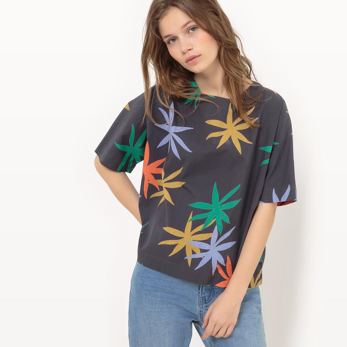 Блузка с цветочным рисунком с короткими рукавами