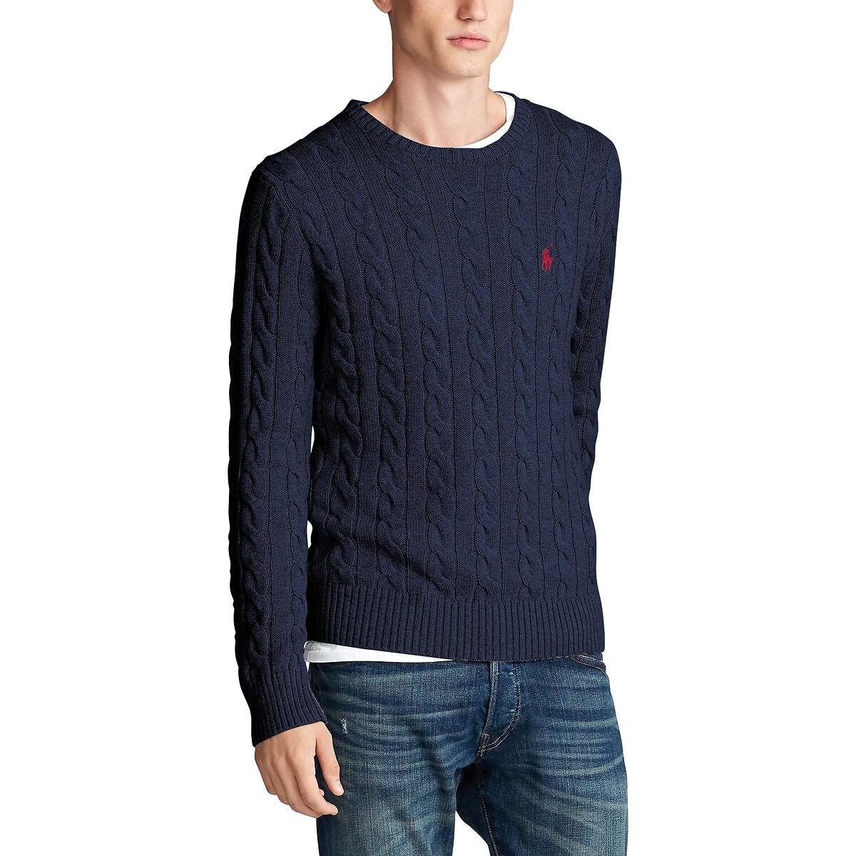 Пуловер LaRedoute С круглым вырезом и узором косы из хлопкового трикотажа XL синий