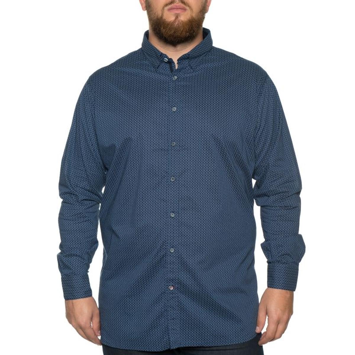 Chemise marvin bleu a petits motifs blanc