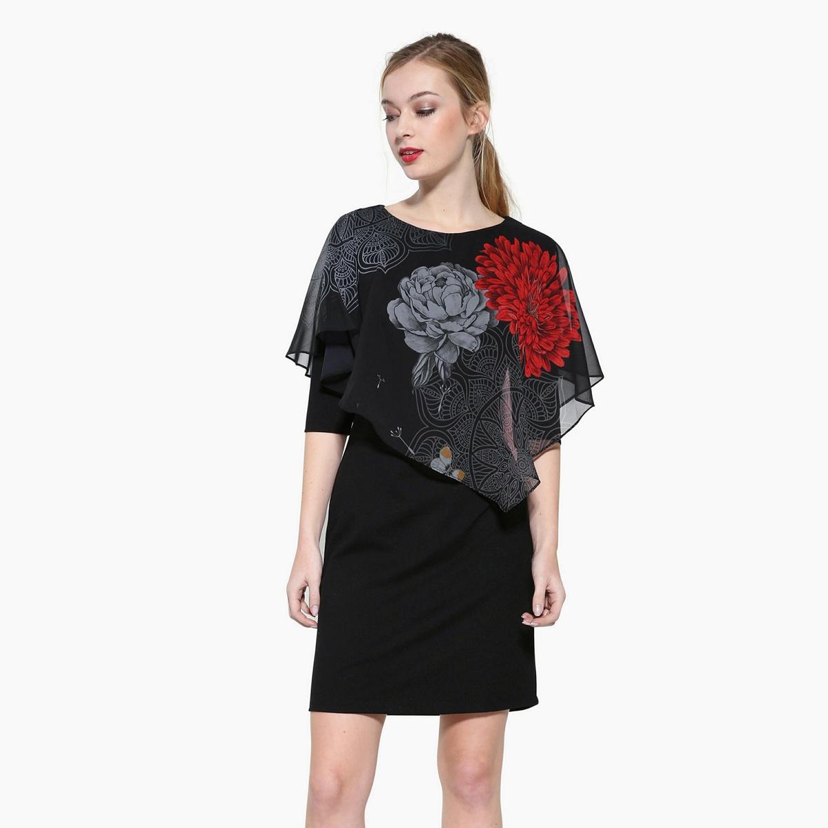 Платье короткое с короткими рукавамиДетали •  Форма : МИНИ •  короткое  •  Короткие рукава    •  Круглый вырез •  Цветочный рисунок Состав и уход •  15% вискозы, 5% эластана, 80% полиэстера •  Следуйте советам по уходу, указанным на этикетке<br><br>Цвет: черный