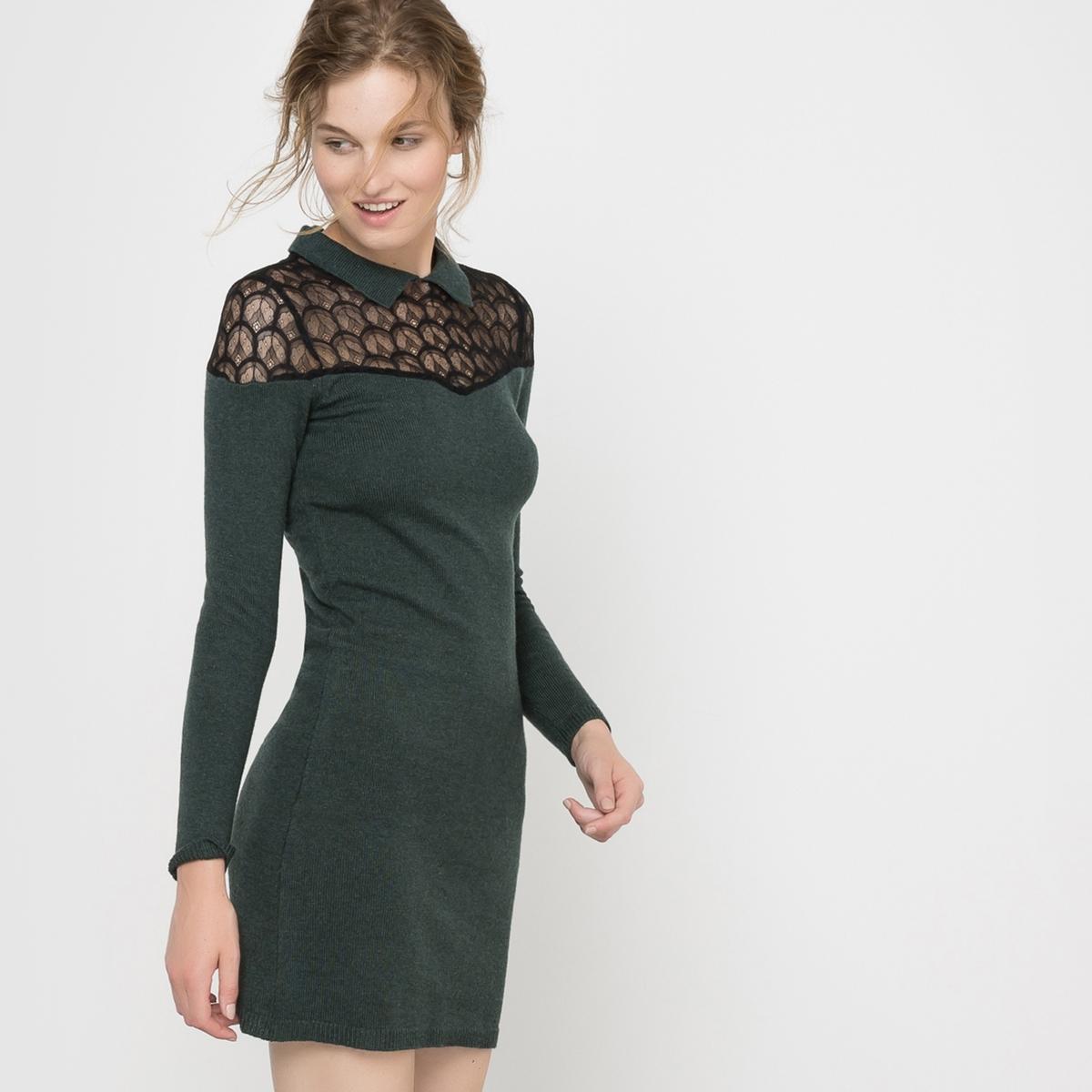 Платье из вязаного трикотажа и кружеваПлатье с длинными рукавами Mademoiselle R. Платье из вязаного трикотажа. Прямой покрой. Вставка из кружева на воротнике. Воротник-поло. Застежка на молнию сзади.Состав и описаниеМарка : Mademoiselle R.Материал : 50% полиамида, 45% вискозы, 5% альпаки Длина : 90 смУходМашинная стирка при 30 °C   Стирать с вещами схожих цветовСтирать и гладить при очень низкой температуре с изнаночной стороныГладить кружево запрещается<br><br>Цвет: темно-зеленый,темно-синий,черный<br>Размер: 38/40 (FR) - 44/46 (RUS)