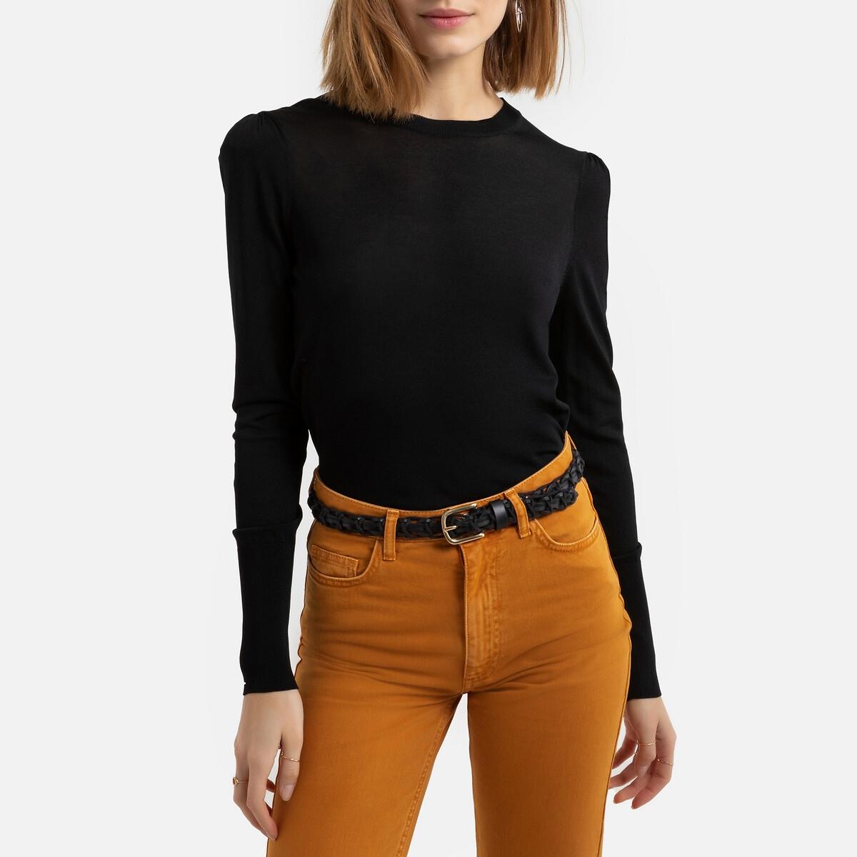 Jersey con cuello redondo de punto fino y mangas ablusadas