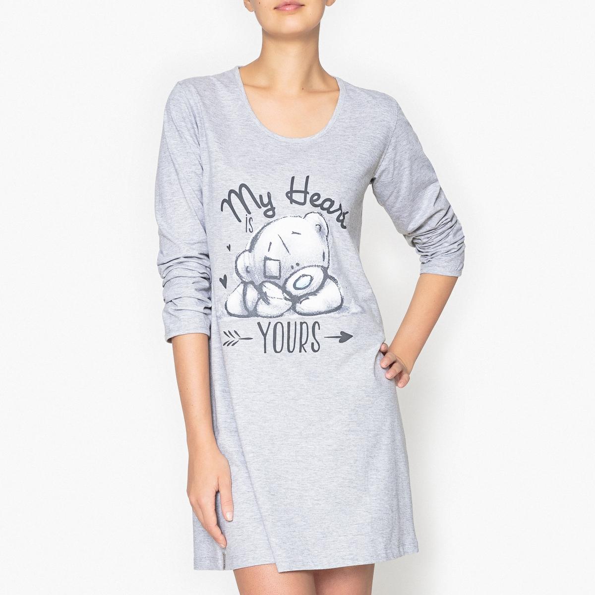 Ночная рубашка с принтом, Me to YouНочная рубашка-большая футболка с принтом My Heart is Yours ,мягкая и комфортная . Состав и описаниеНочная рубашка с принтом и длинными рукавами  . Круглый вырез. Материал :  92% хлопка, 8% полиэстера.Марка : Me to YouУход: :Машинная стирка при 30 °С на деликатном режиме с вещами схожих цветов.Стирать и гладить при низкой температуре с изнаночной стороны.Машинная сушка запрещена.<br><br>Цвет: серый<br>Размер: M