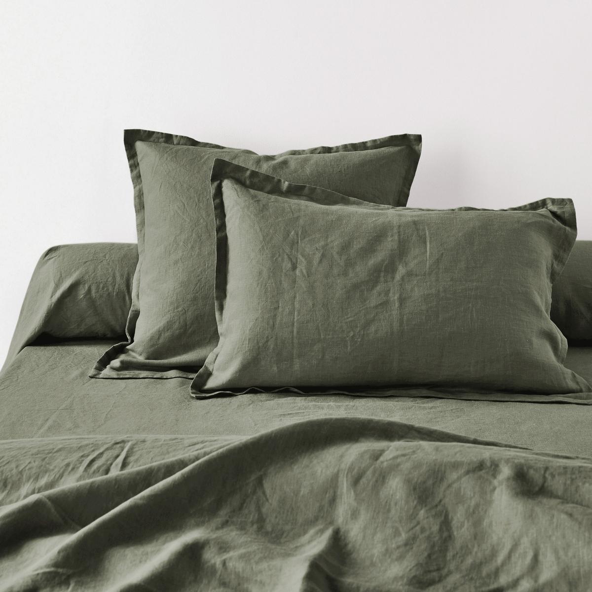 Наволочка La Redoute Или наволочка на подушку-валик из осветленного льна 85 x 185 см зеленый чехол la redoute на изголовье кровати из осветленного льна abella 90 x 85 см бежевый