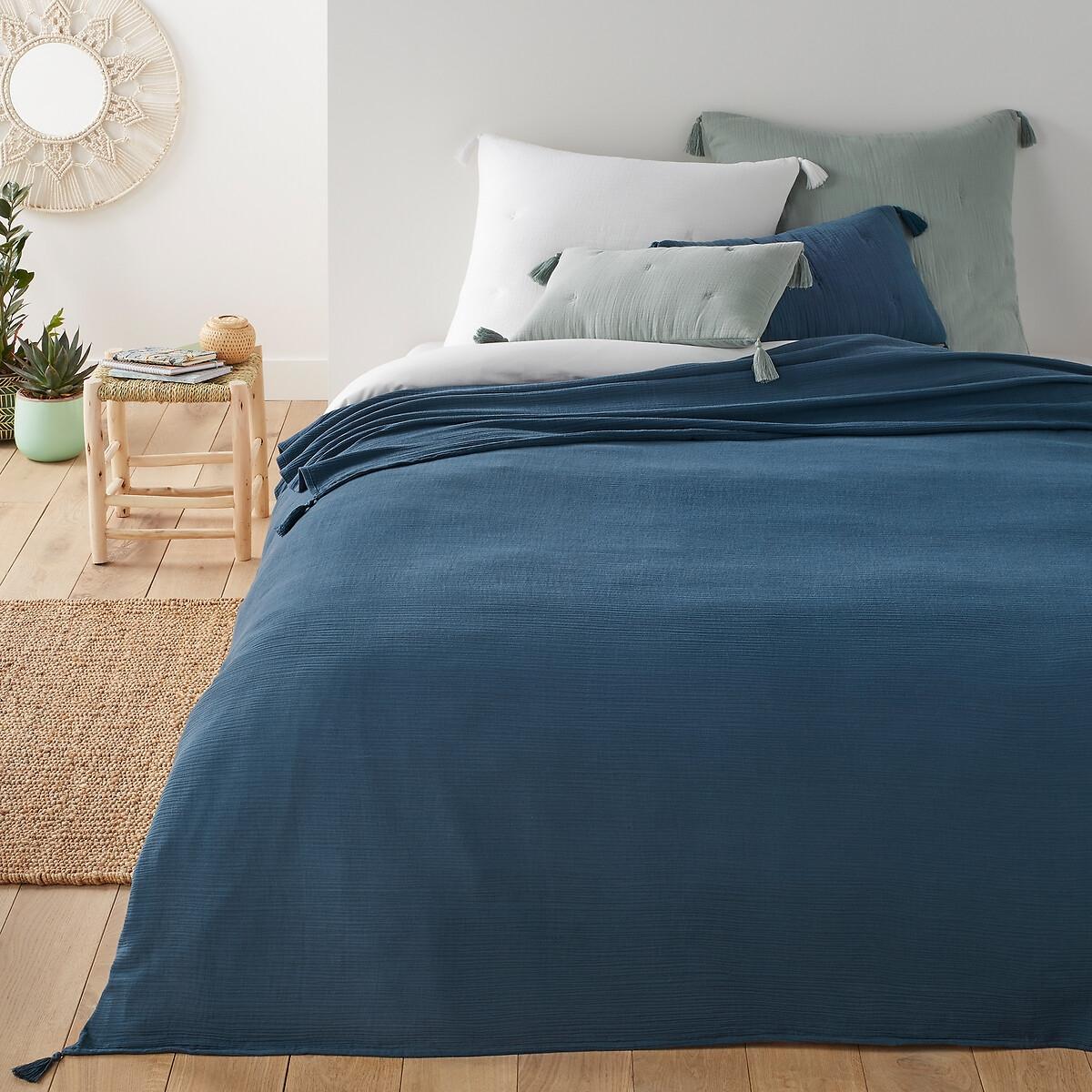Покрывало LaRedoute Кроватное из хлопчатобумажной газовой ткани Kumla 180 x 230 см синий