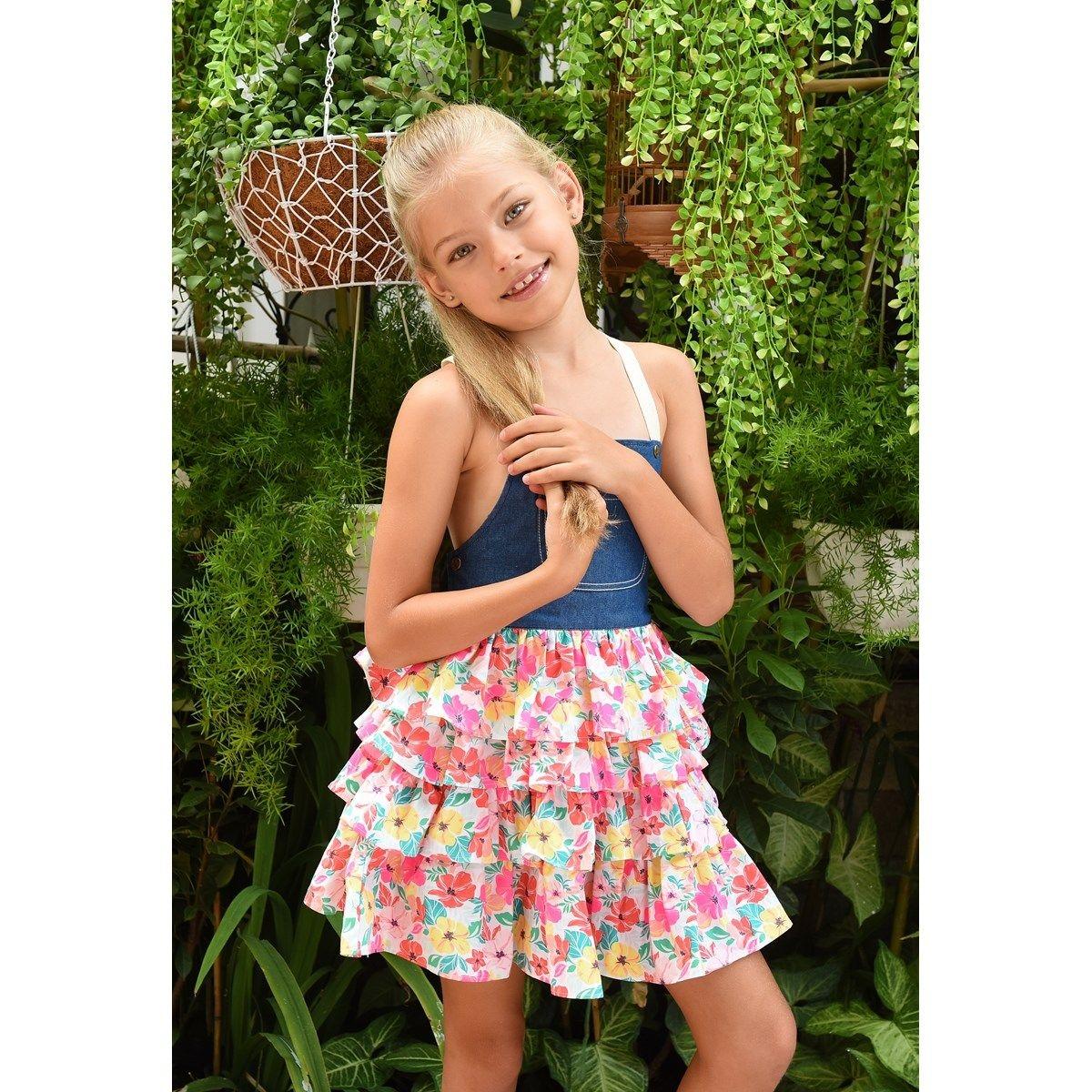 Robe salopette été fille à fleurs et volants - bretelles croisées - Gigi