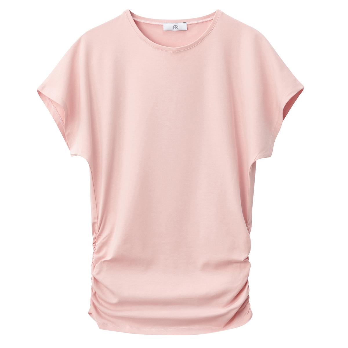 T-shirt plissada dos lados, gola redonda, mangas curtas