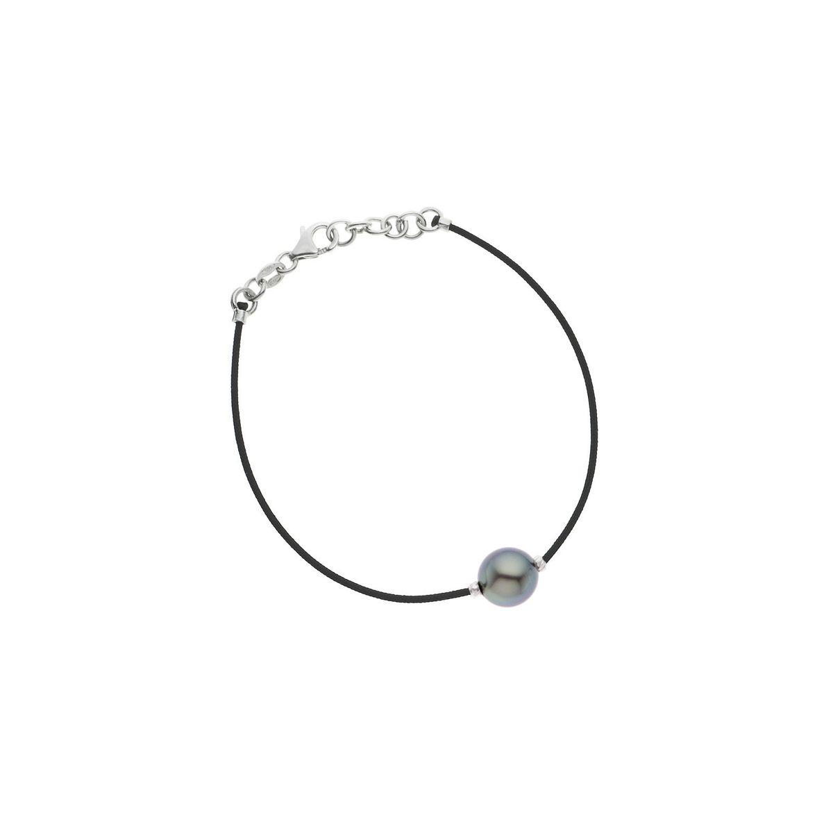 Bracelet Lien Nylon Tressé de couleur NOIRE Véritable Perle de Culture de TAHITI