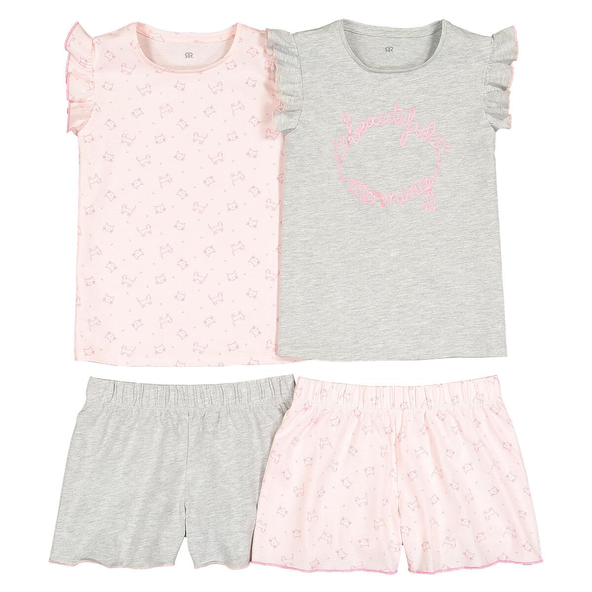Комплект из 2 пижам из LaRedoute Хлопка с воланами 3-12 лет 4 года - 102 см розовый
