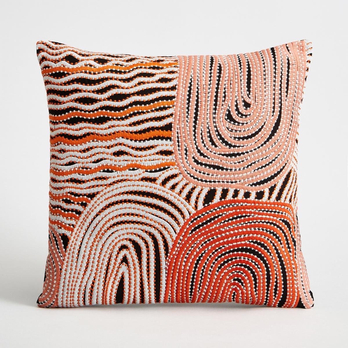 Чехол для подушки RatapikoЧехол для подушки Ratapiko с рисунком и вышивкой. Застежка на молнию. Стирка при 30°.Состав:- 100% хлопок. Размеры :- 40 x 40 см.Подушка продается отдельно на сайте.<br><br>Цвет: оранжевый/ черный<br>Размер: 40 x 40  см
