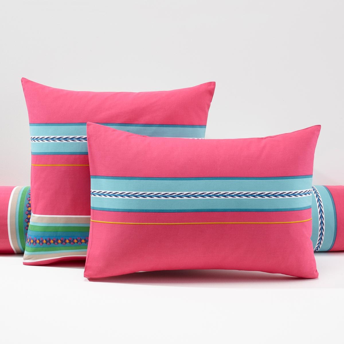 Наволочки на подушку и на подушку-валик NazcaНаволочки для обычной подушки и для подушки-валика (57 нитей/см?). Чем больше нитей/см?, тем выше качество материала.Производство осуществляется с учетом стандартов по защите окружающей среды и здоровья человека, что подтверждено сертификатом Oeko-tex®.Размеры наволочек НАСКА:50 x 70 см: прямоугольная наволочка.63 x 63 см: квадратная наволочка.85 x 185 см: наволочка на подушку-валик100% хлопок. Стирка при 60°.Яркие полоски в стиле мексиканского фольклора.<br><br>Цвет: розовый с рисунком