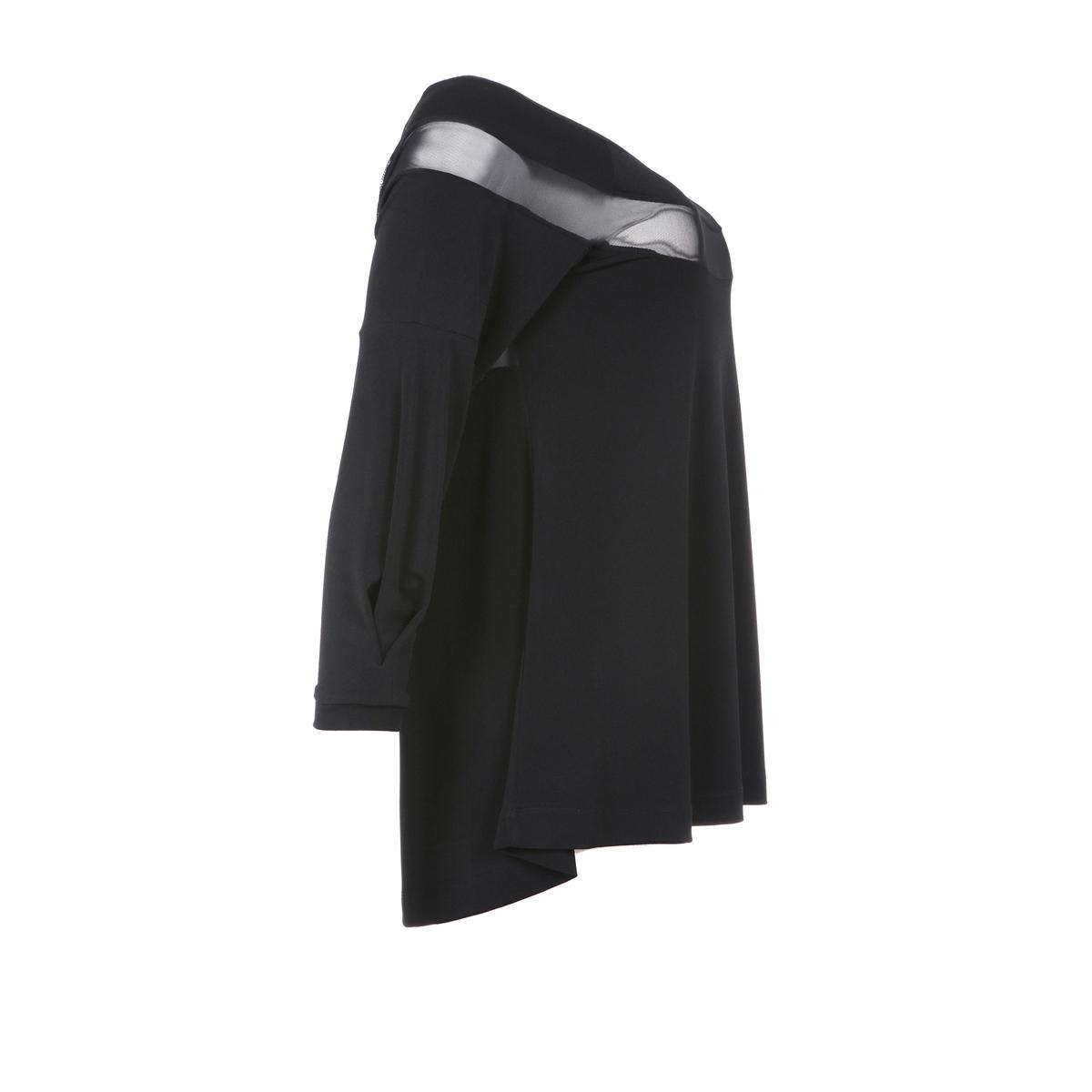 БлузкаТоп-блузка с рукавами 3/4 MAT FASHION. 96% полиэстера, 4% эластана.   С прозрачными линиями-лоскутками ниже выреза и на рукавах . Закругленный вырез.<br><br>Цвет: черный