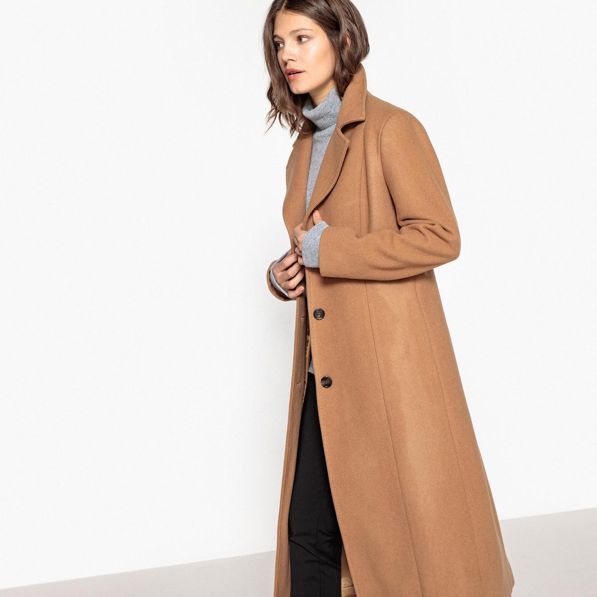 Длинное пальто из шерстяного драпаОписание:Очень элегантное длинное пальто . Это пальто из шерстяного драпа защитит вас от зимних морозов . Пальто, перед которым нельзя устоять .Детали •  Длина : удлиненная модель •  Воротник пиджачный • Застежка на пуговицыСостав и уход •  72% шерсти, 6% полиамида, 22% полиэстера  •  Подкладка : 100% полиэстер • Не стирать •  Деликатная чистка/без отбеливателей •  Не использовать барабанную сушку   •  Низкая температура глажки •  Длина : 125 см.<br><br>Цвет: темно-бежевый<br>Размер: 40 (FR) - 46 (RUS).50 (FR) - 56 (RUS)