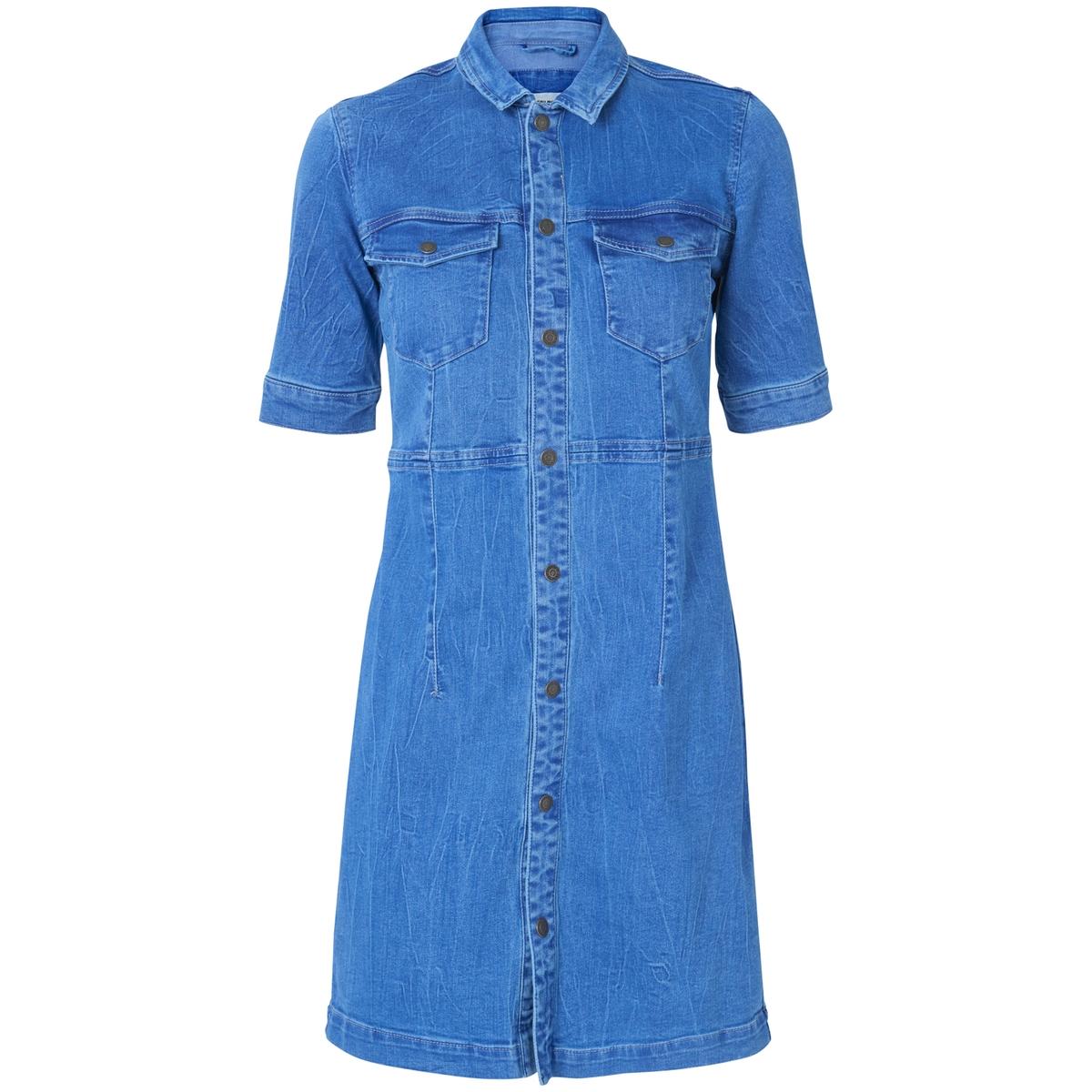 Платье-рубашка из денимаПлатье-рубашка с короткими рукавами из денима VERO MODA. Приталенный покрой, воротник со свободными уголками. Два кармана с клапаном на груди. Застежка на пуговицы сверху до низу. Состав и описание  :Материал : 79% хлопка, 19% полиэстера, 2% эластана                                                              Марка : VERO MODA                 Уход :        Машинная стирка при 30 °С<br><br>Цвет: светло-синий<br>Размер: XS