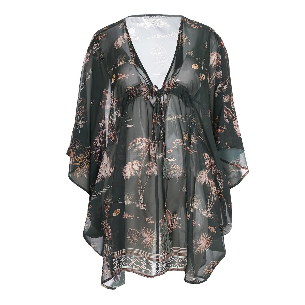 Жакет-кимоноЖакет-кимоно MAT FASHION. 100% полиэстер. Жакет с рисунком. Рукава 3/4  . Застежка на завязки с кисточками.<br><br>Цвет: рисунок/зеленый<br>Размер: 48/52 (FR) - 54/58 (RUS)