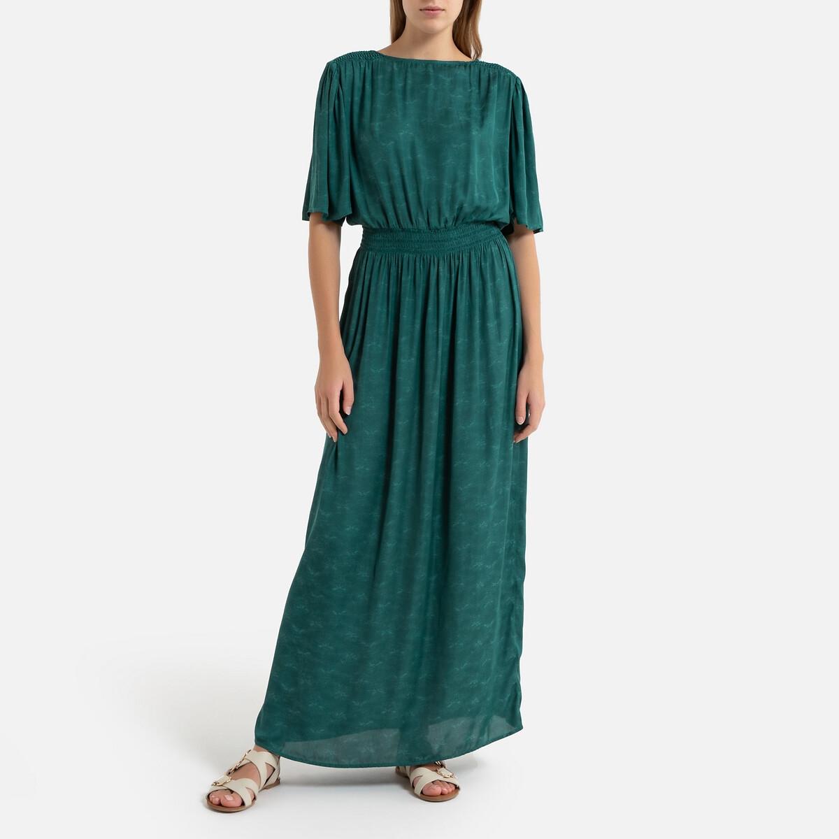 Платье La Redoute Длинное струящееся с короткими рукавами ELORIA M зеленый бюстгальтер eloria valerie reg imb цвет коричневый 50003 размер m 75b