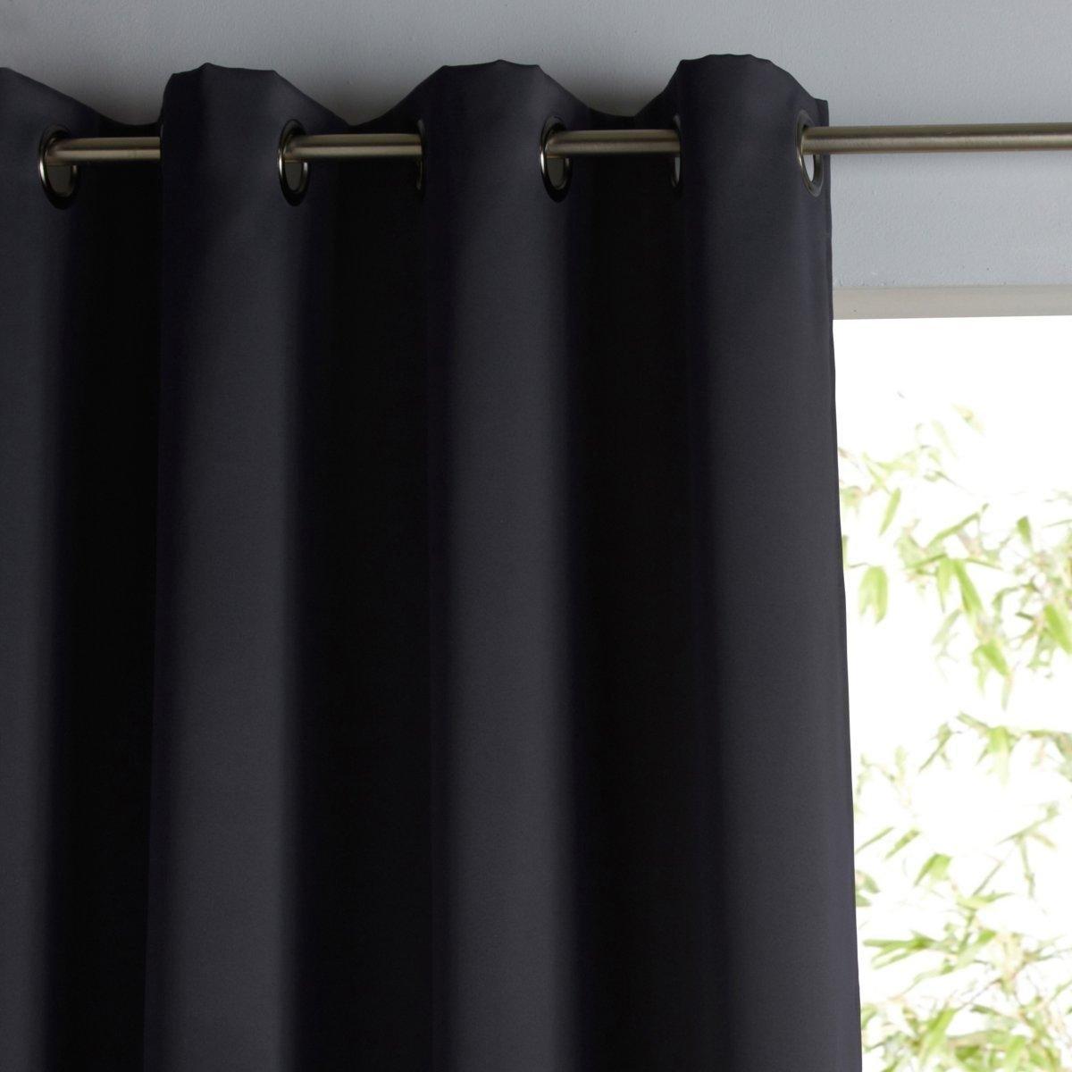 Штора La Redoute Затемняющая и термоизолирующая с люверсами 350 x 145 см черный штора двухцветная с люверсами 100