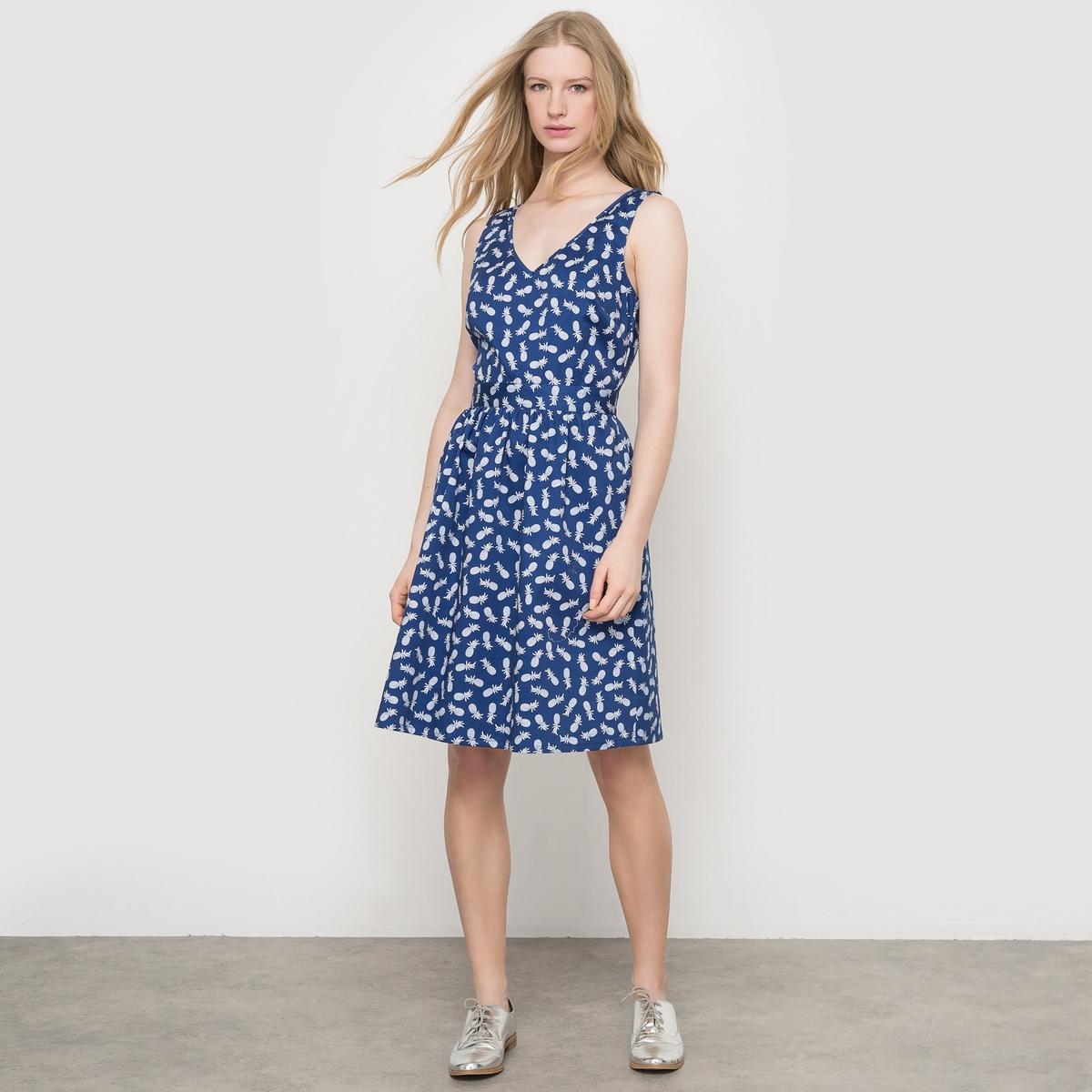 Платье короткое с рисунком ананас