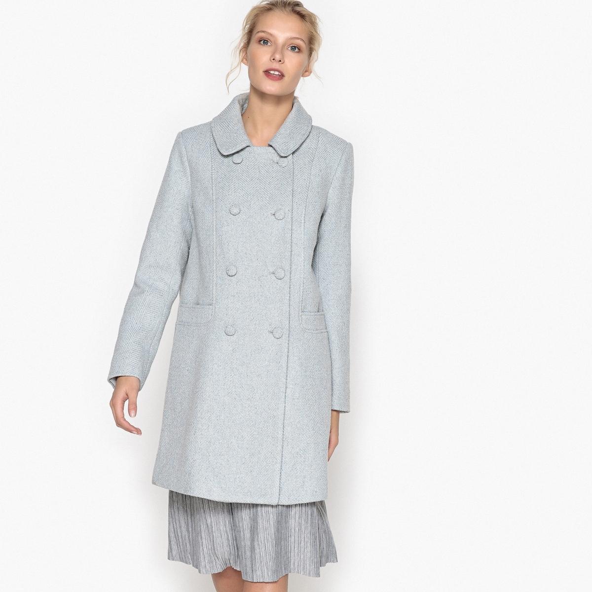Пальто с двойной застежкой на пуговицы
