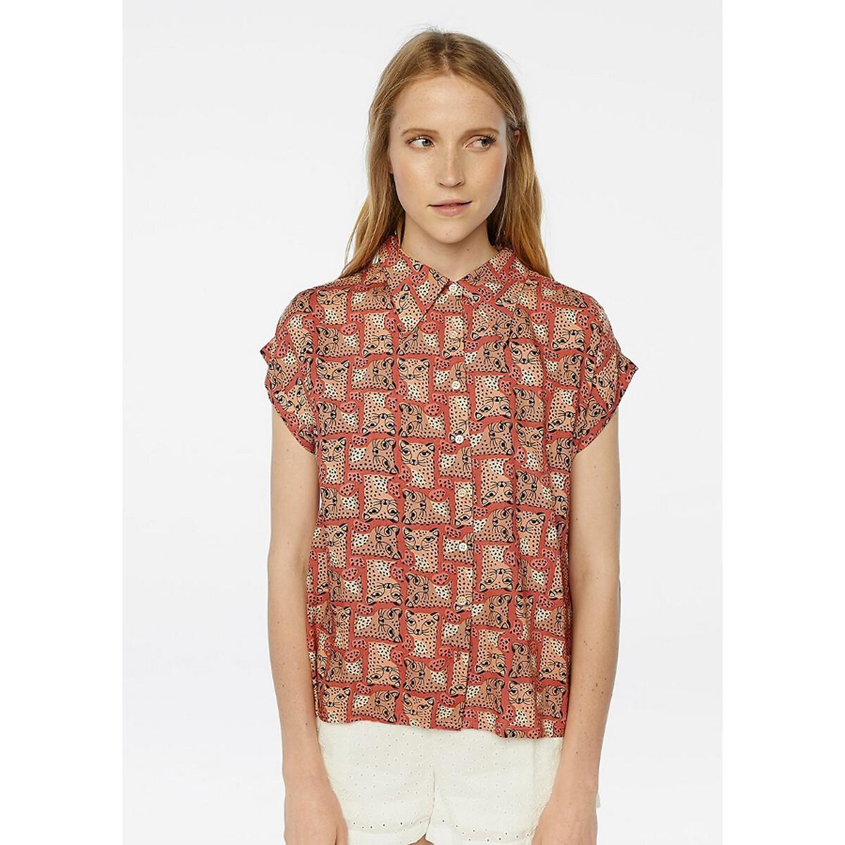 Рубашка La Redoute С короткими рукавами с анималистичным принтом S оранжевый цена 2017