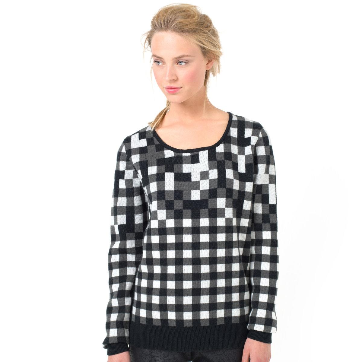 ПуловерПуловер NUMPH. 70% шерсти, 30% акрила. Круглый вырез. Рисунок в клетку.<br><br>Цвет: черный/ серый/ белый<br>Размер: S