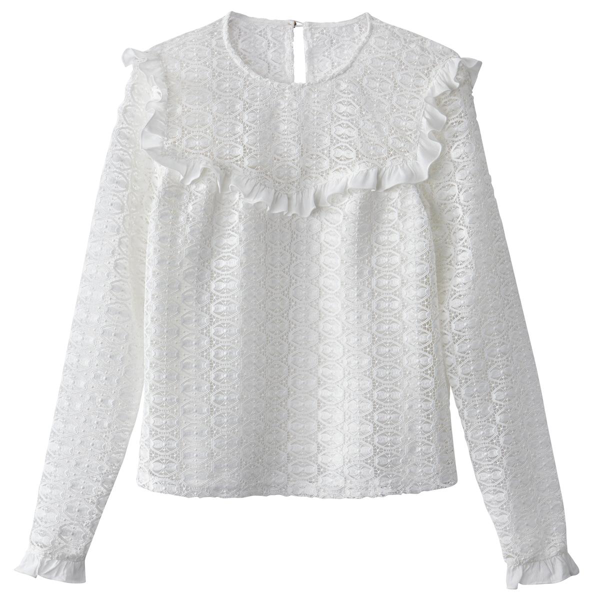 Блузка кружевная с воланами