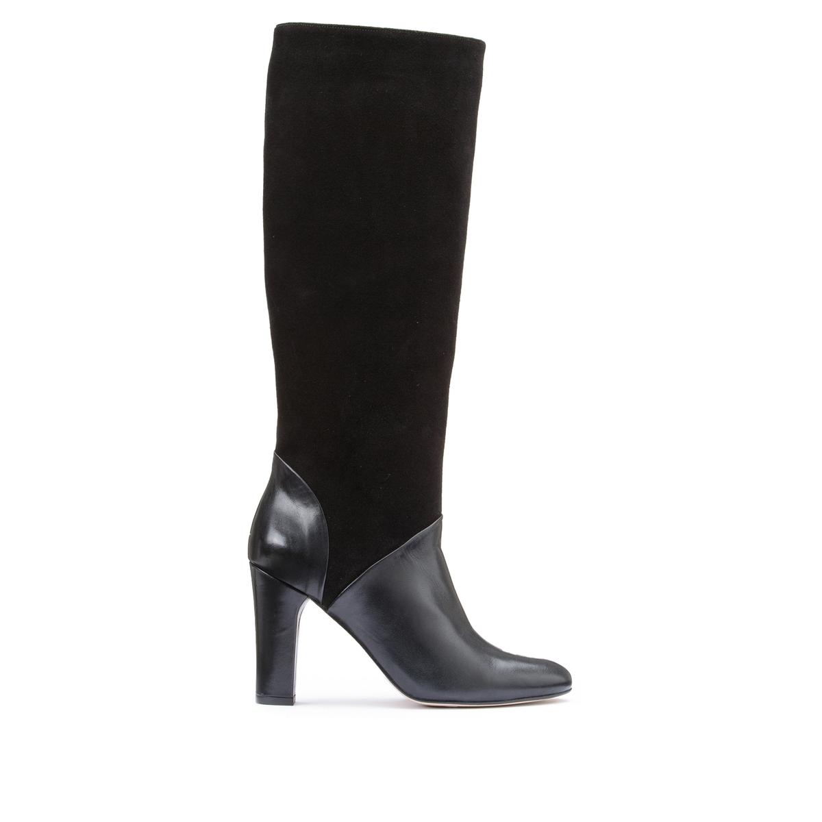 цена Сапоги La Redoute Из двух материалов с кожей на высоком каблуке 41 черный онлайн в 2017 году