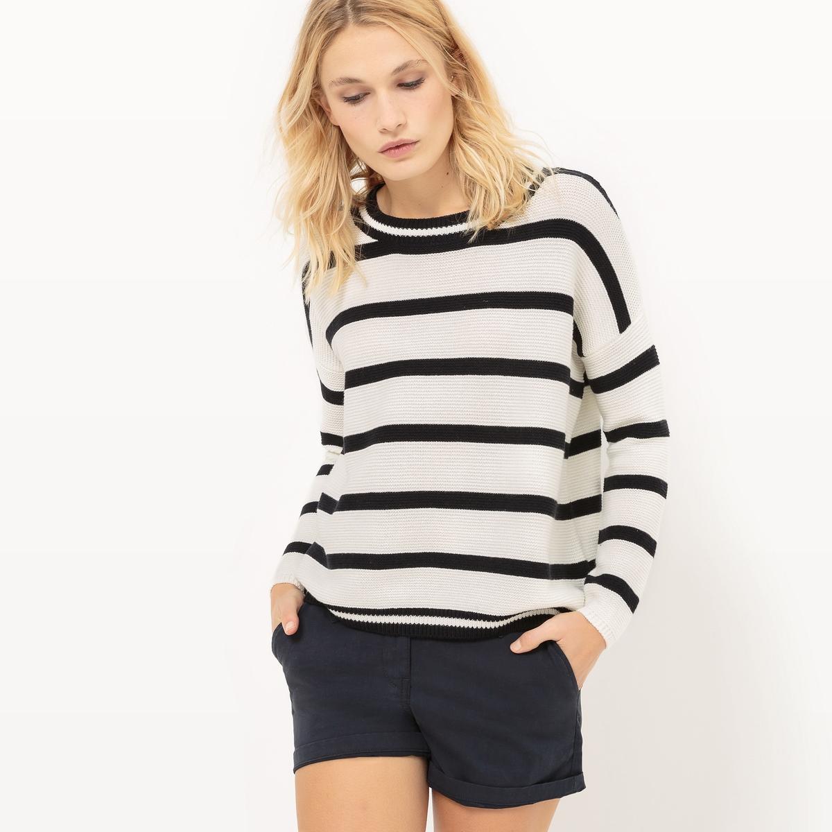 Пуловер с круглым вырезом из хлопкаМатериал : 40% акрила, 60% хлопка Длина рукава : длинные рукава Форма воротника : круглый вырез Покрой пуловера : стандартный Рисунок : в полоску<br><br>Цвет: экрю/ темно-синий<br>Размер: 2(M)
