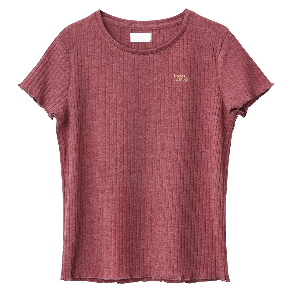T-shirt curta em canelado, 10-16 anos