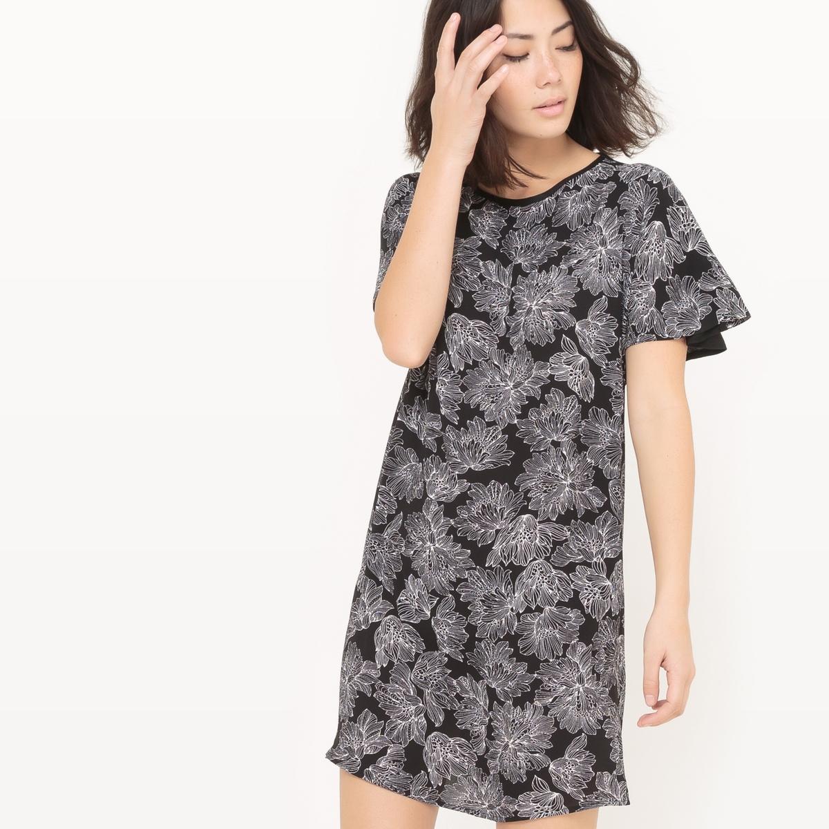 Платье-футляр с рисунком из двух материалов