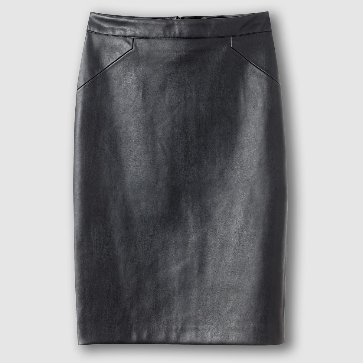 Юбка-карандашСостав и описание Материал: Искусственная кожа,  100% полиэстераДлина      60 см Марка: R ?dition   УходМашинная стирка при 30° с одеждой такого же цвета.Машинная сушка запрещенаСтирать с изнаночной стороныНе гладить<br><br>Цвет: черный<br>Размер: 42 (FR) - 48 (RUS)