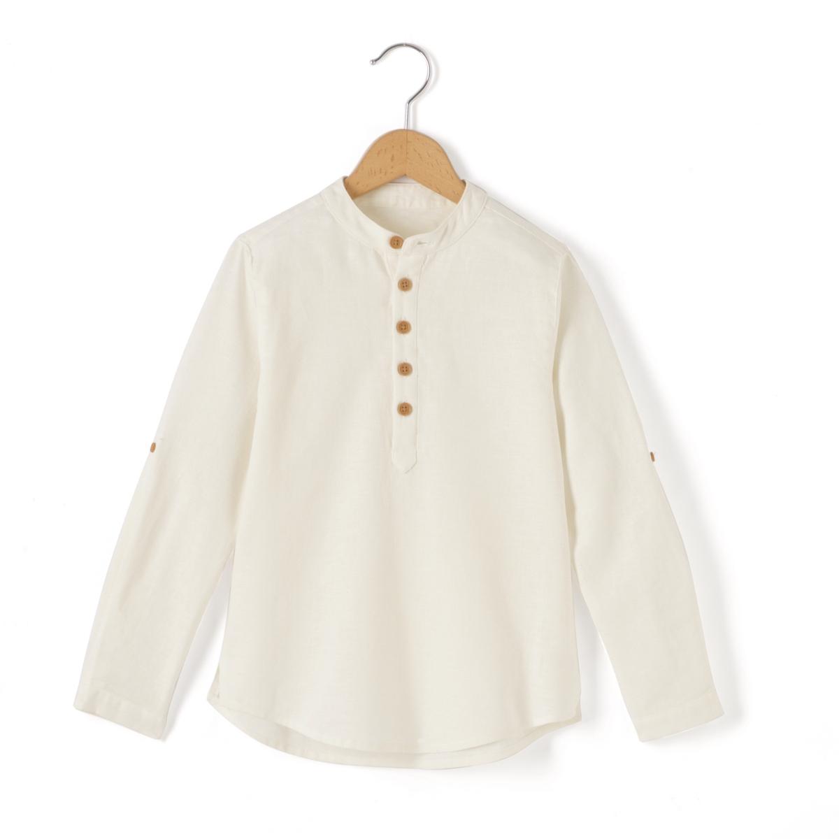 Рубашка из хлопка и льна, 3-12 лет