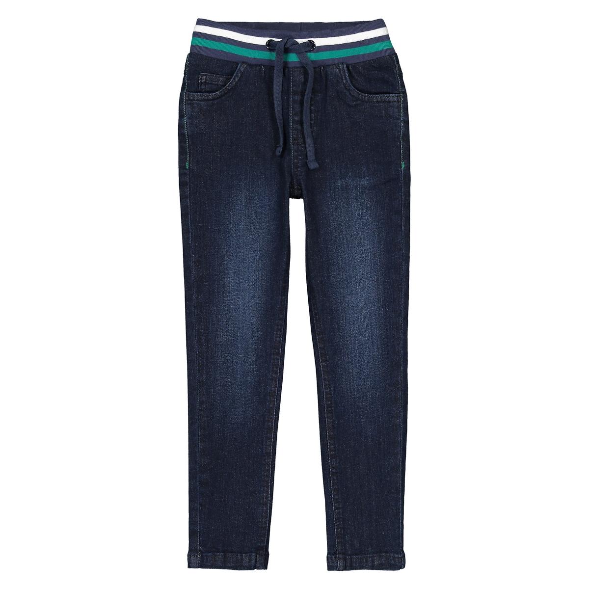 Jeans slim, cós elástico 3-12 anos