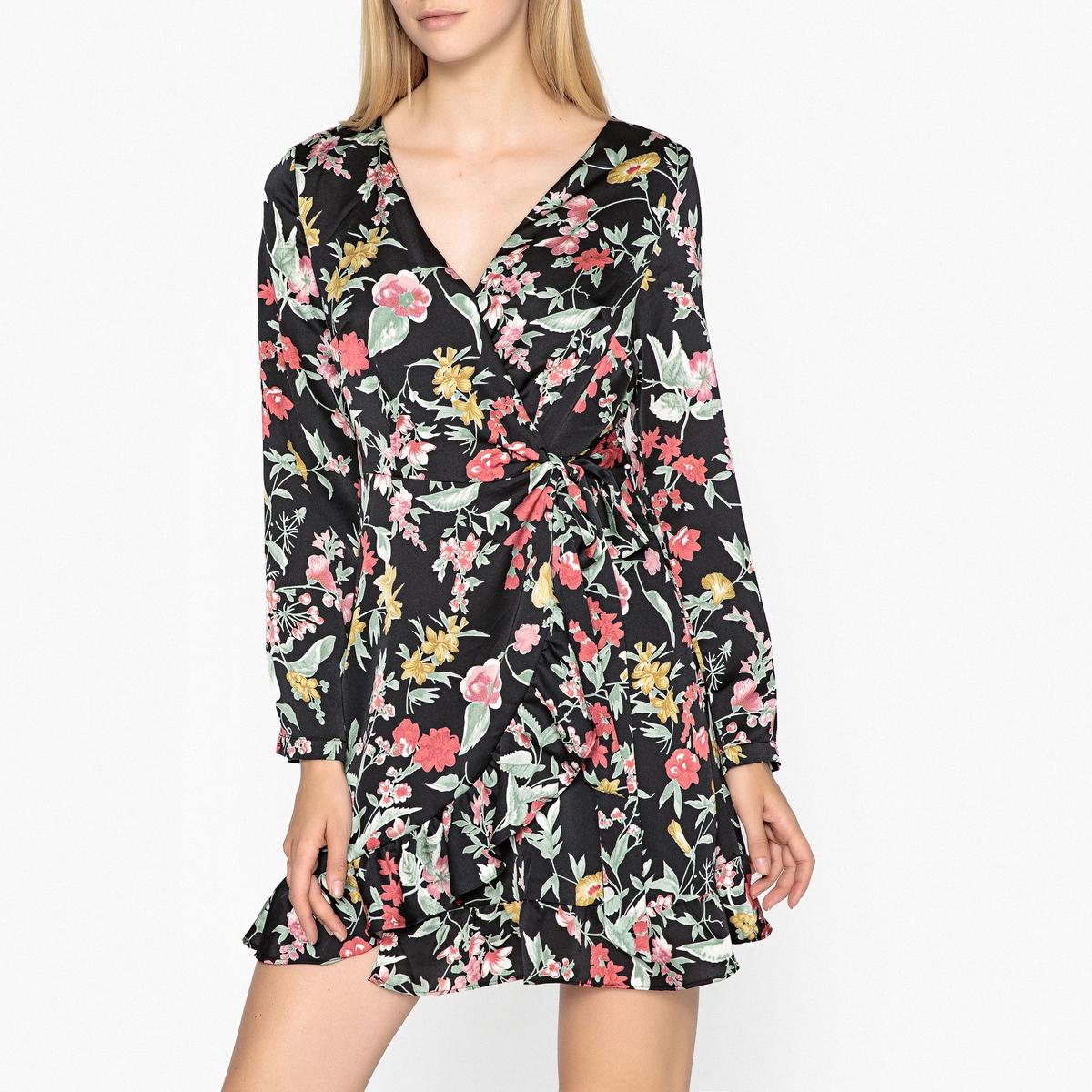 Платье с запахом с цветочным рисунком AMBRE платье с запахом vestido negro maqi