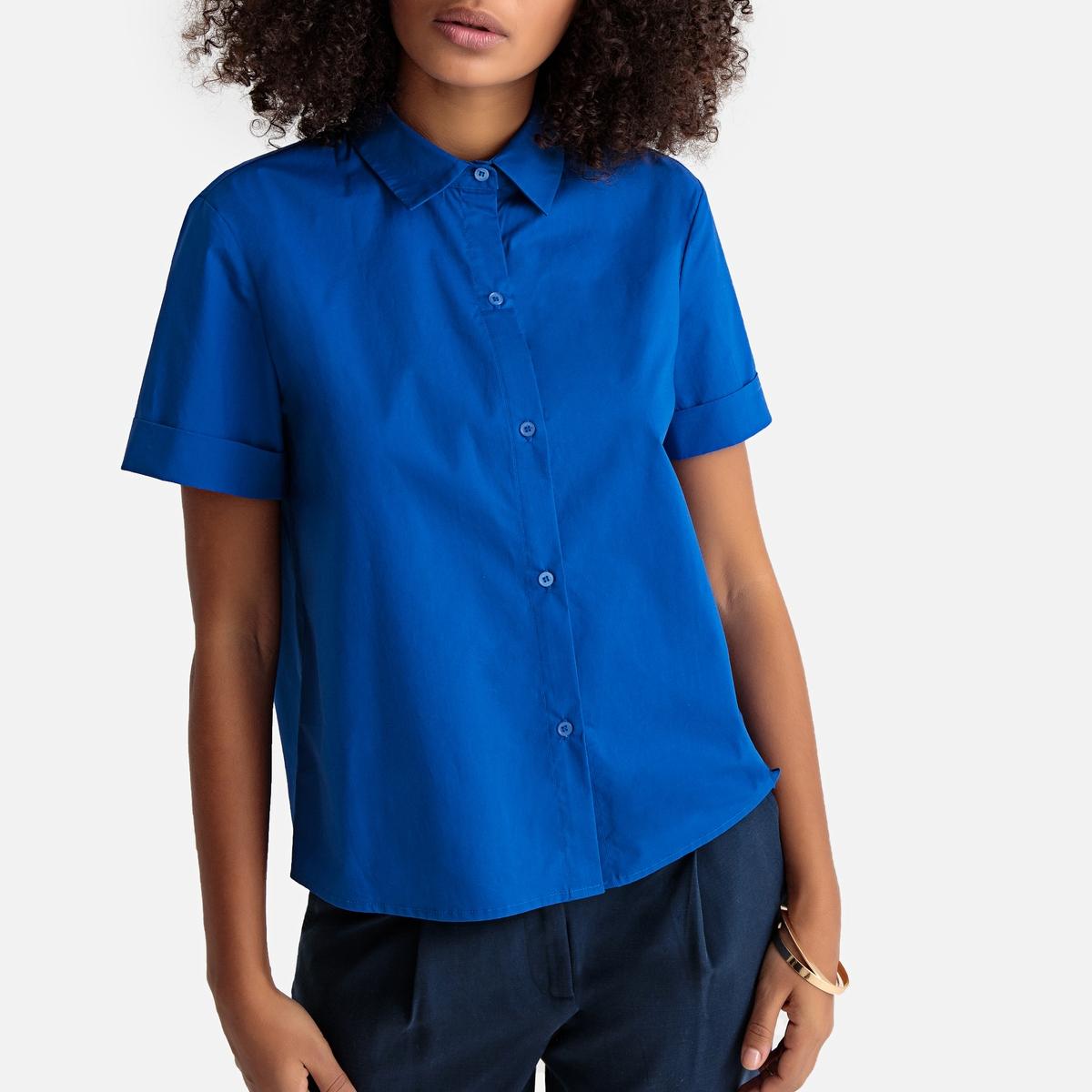 Рубашка La Redoute С короткими рукавами 34 (FR) - 40 (RUS) синий цена 2017