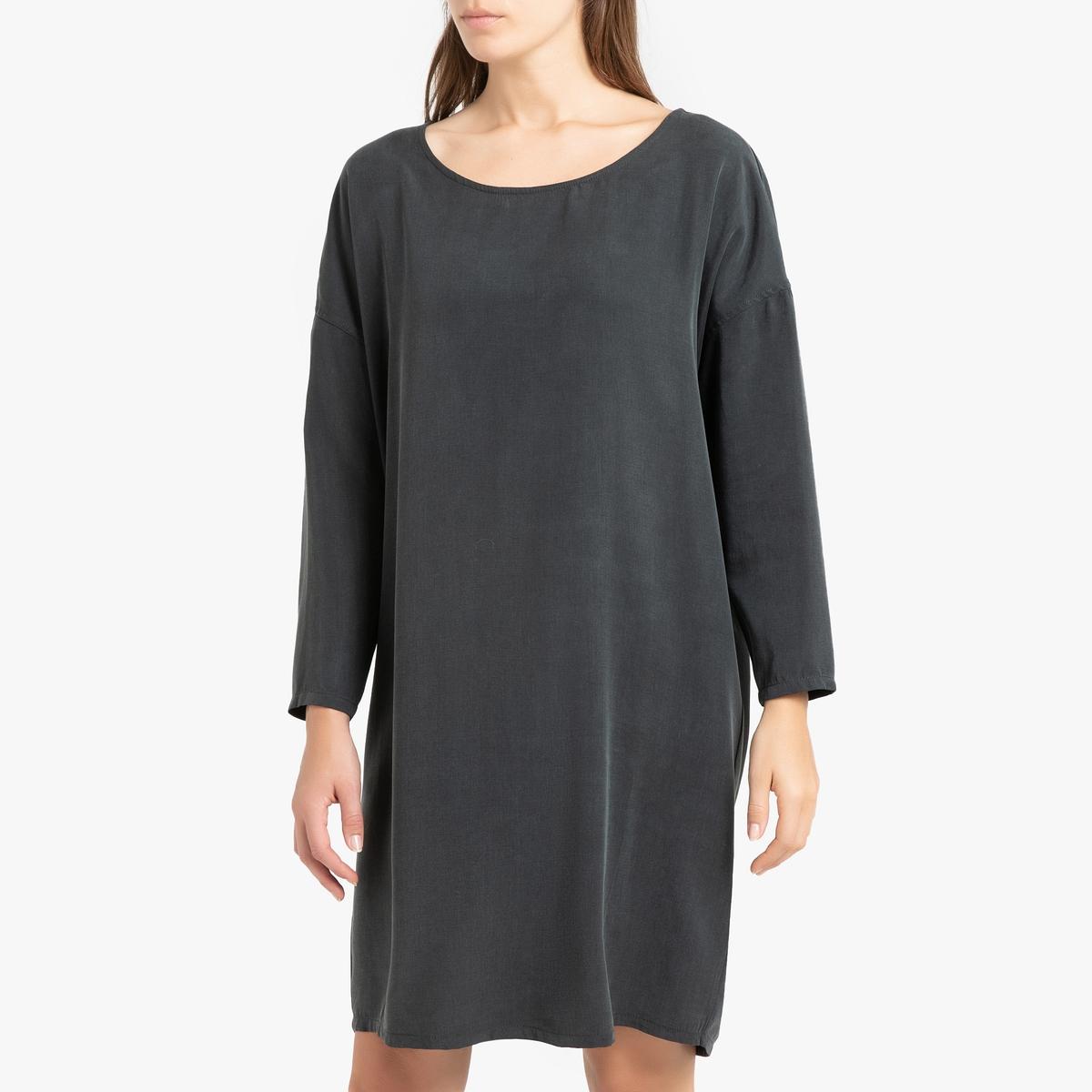 Платье LaRedoute Прямое с длинными рукавами NALASTATE L черный прямое платье с рукавами фонарик maurini