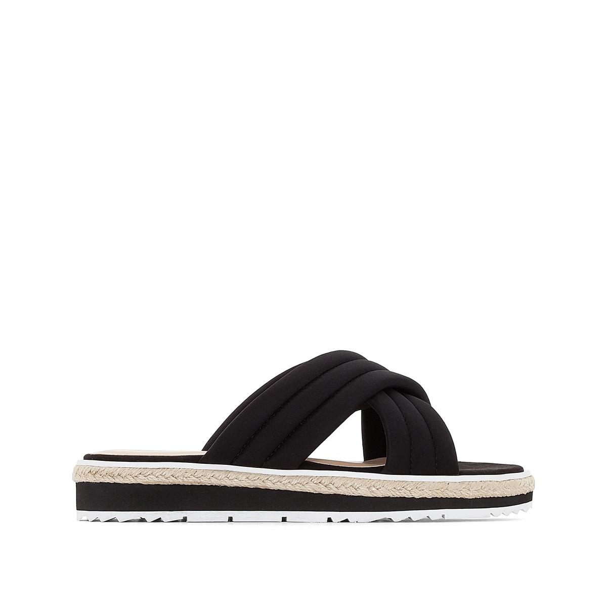 Туфли без задника на стеганых ремешках