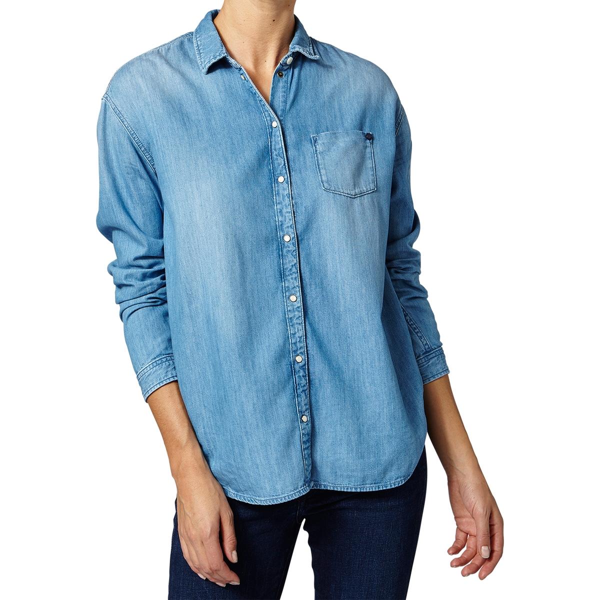 цена Рубашка однотонная с воротником-поло и длинными рукавами онлайн в 2017 году