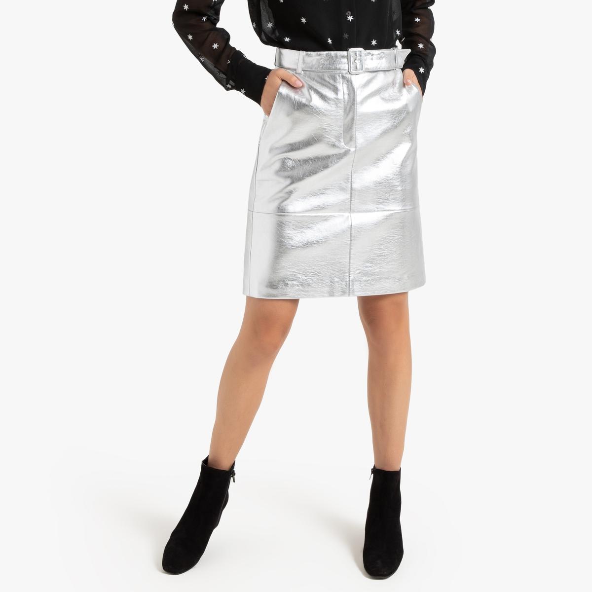 Falda recta de piel sintética acolchada