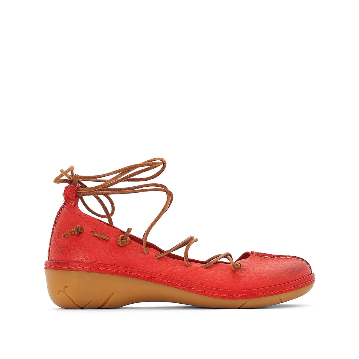 Балетки кожаные на шнуровке NapeaВерх / Голенище: кожа.   Подкладка : кожа.   Стелька : кожа.   Подошва : резина   Высота каблука : 3 см   Форма каблука : плоский каблук   Мысок : закругленный   Застежка : шнуровка<br><br>Цвет: красный<br>Размер: 38.41