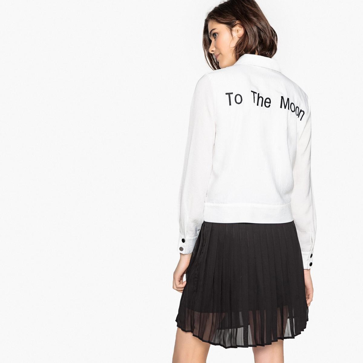 Camisa de mangas compridas, bordado atrás