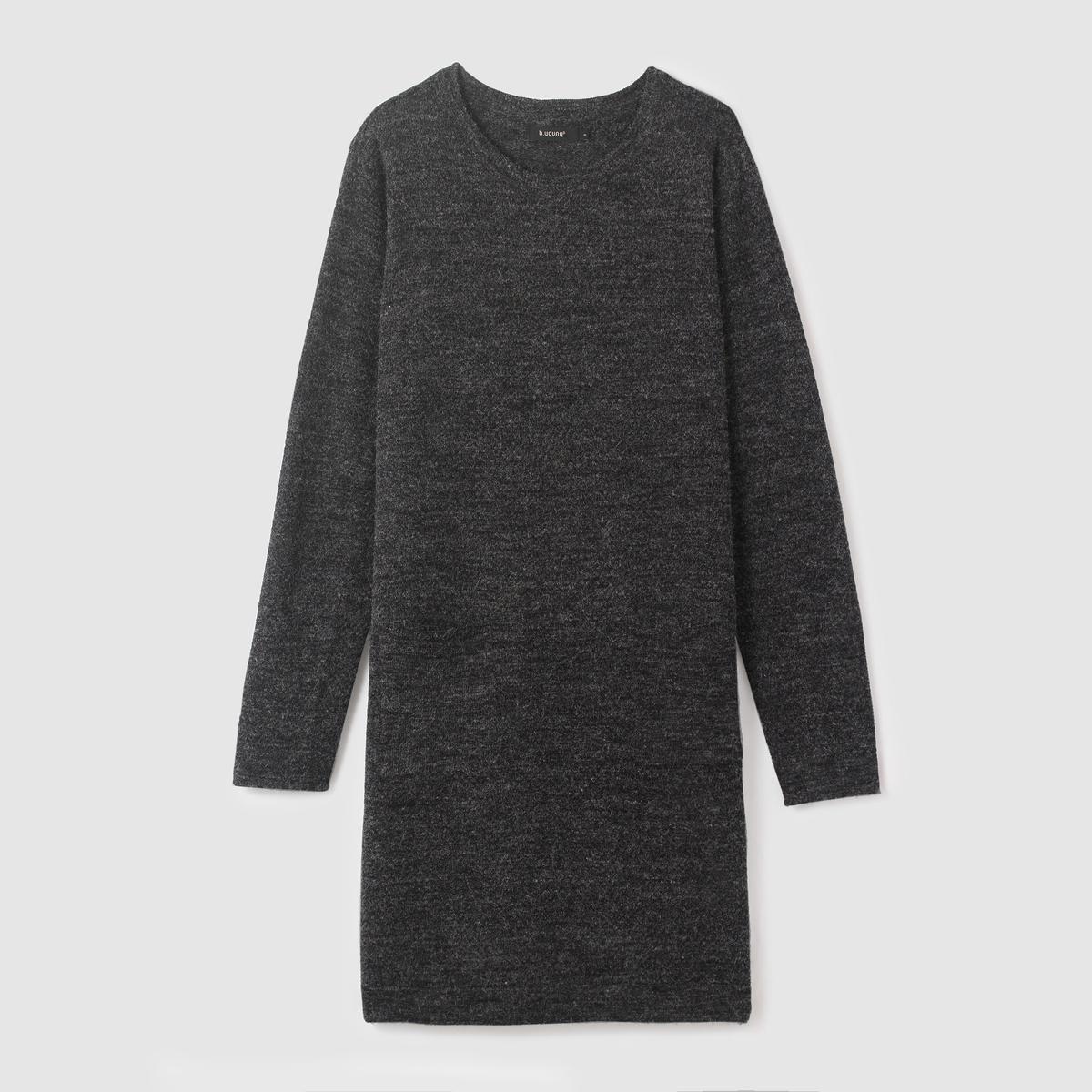 Платье-пуловер длинное OBAS DRESSСостав и описание :Материал : 80% акрила, 20% полиамидаМарка : B.YOUNG<br><br>Цвет: антрацит/меланж,бордовый<br>Размер: XL.M