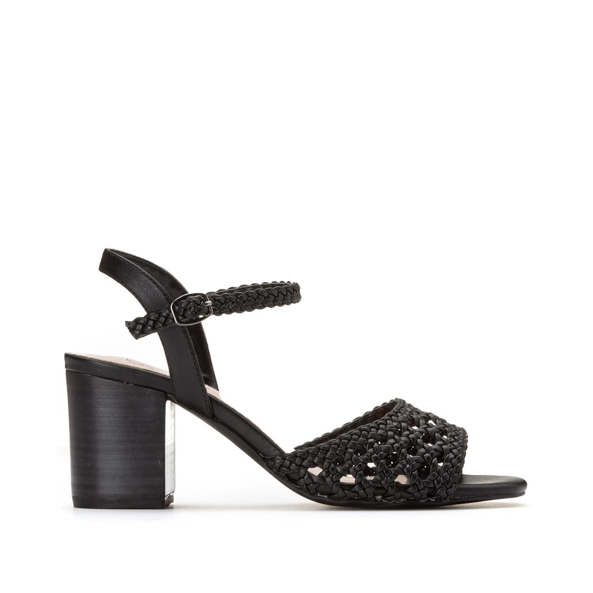 Босоножки La Redoute Плетеные на высоком каблуке 36 черный