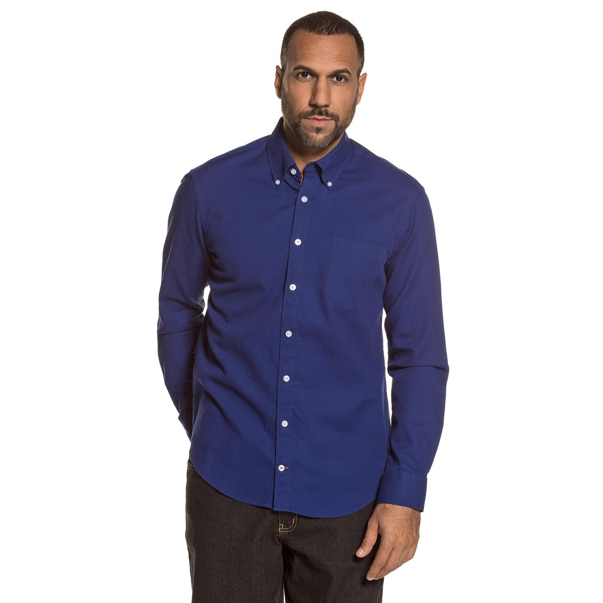 Рубашка однотонная с длинными рукавами