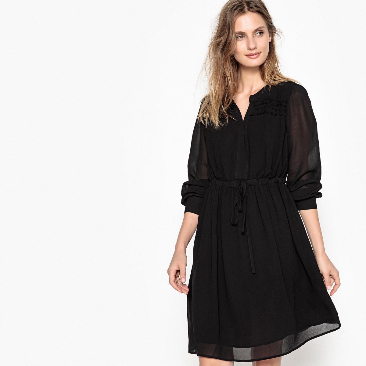Платье однотонное расклешенного покроя, длина миди, 3/4Детали •  Форма : расклешенная •  Длина миди, 3/4 •  Длинные рукава    •  Круглый вырез с разрезомСостав и уход •  100% вискоза •  Следуйте советам по уходу, указанным на этикетке<br><br>Цвет: черный<br>Размер: S