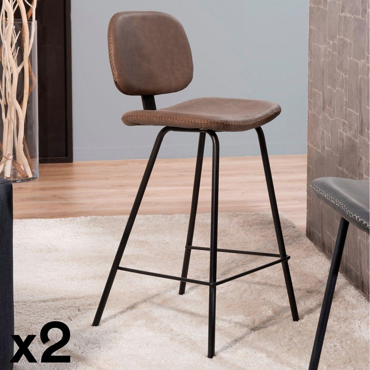 Lot de 2 chaises de bar en métal tissu marron style vintage TIM