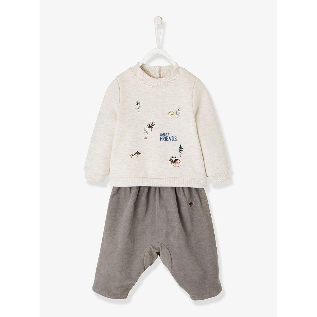Ensemble sweat brodé renard, pantalon molleton et chaussons fourrure bébé naissance