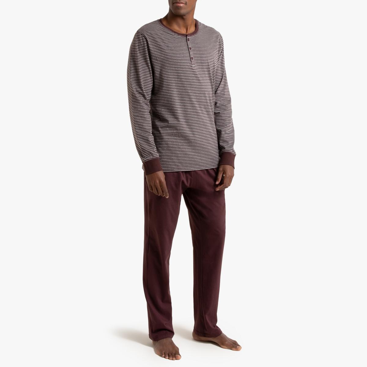 цена Пижама La Redoute С футболкой с длинными рукавами и круглым вырезом с разрезом спереди M оранжевый онлайн в 2017 году